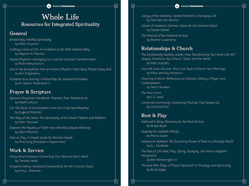 Whole Life Resources for Integrated Spirituality books worksheet handout colorado springs colorado non-profit nonprofit new life church new life downtown nld