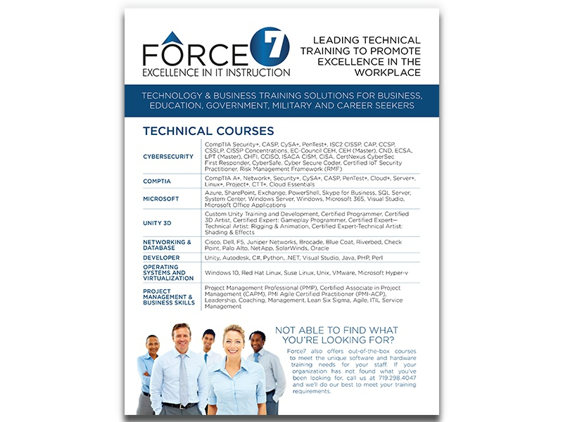 Force7 Info Brochure technical training training information technology computers database networking business government military colorado springs colorado brochuredesign brochure whitepaper technology cybersecurity