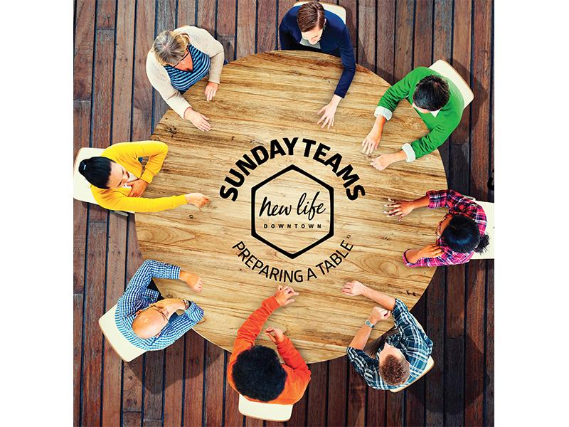 Preparing a Table / Sunday Teams photography photograph non-profit nonprofit colorado springs colorado church branding church design church postcard card table new life church new life downtown