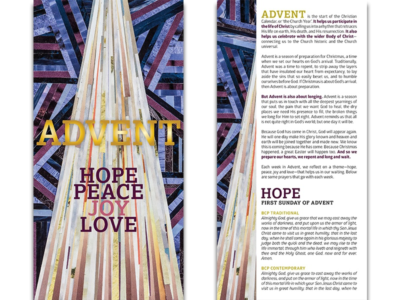 Advent Booklet / New Life Downtown book design booklet non-profit nonprofit colorado springs colorado holiday hope joy love peace art artwork church design church christmas advent