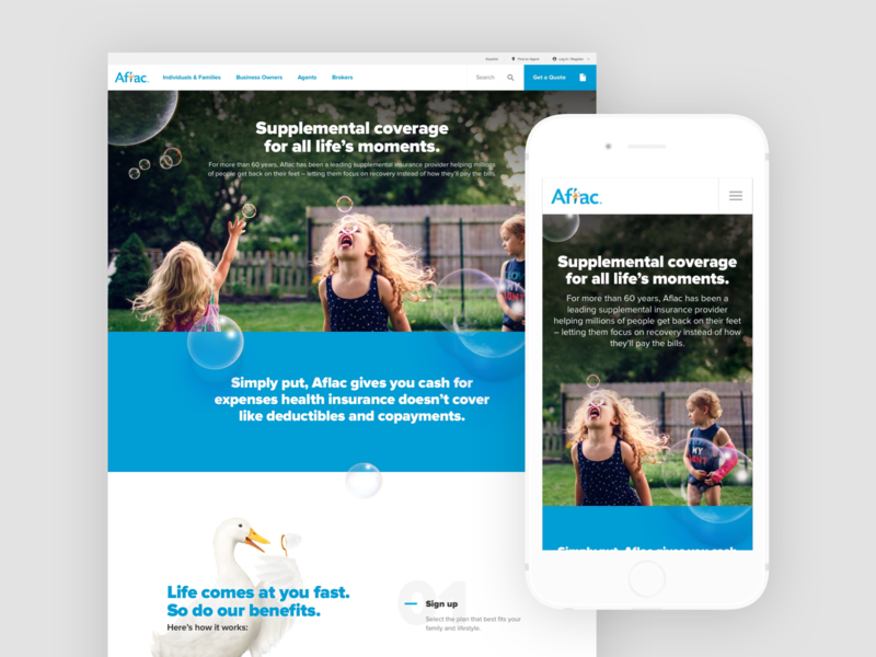Aflac Homepage Redesign responsive insurance duck motion design parallax homepage web