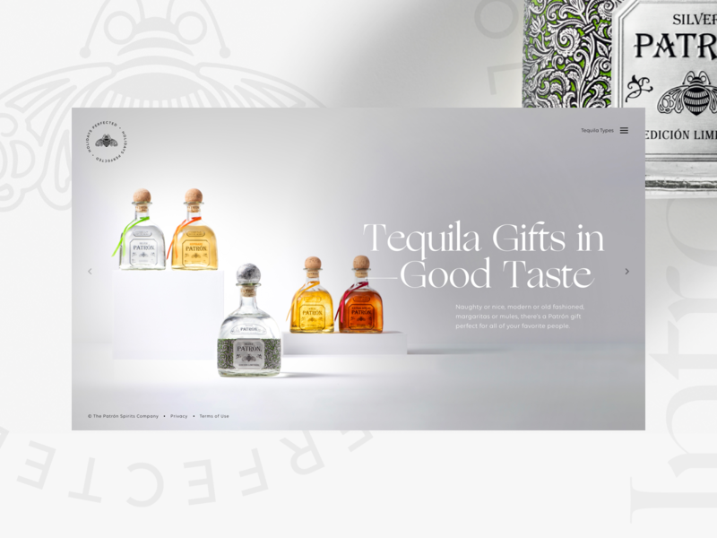 Patrón Gift Guide — 00 patrón archetypes cocktails responsive holiday website gift guide tequila