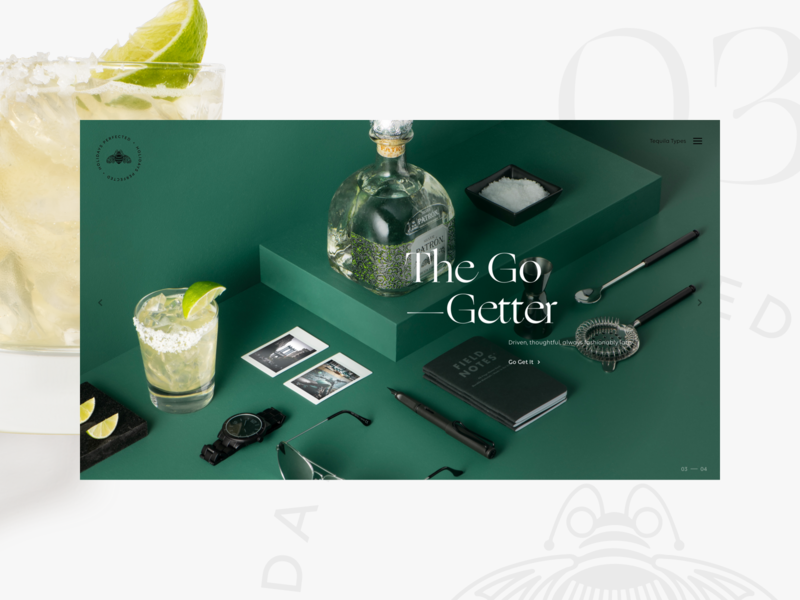 Patrón Gift Guide — 03 patrón isometric website tequila responsive classic margarita holiday gift guide go-getter cocktails archetypes special edition silver