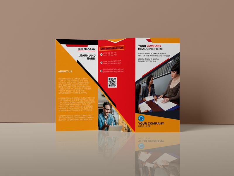 corporate tri-fold brochure design . tri fold brochure modern luxury creative clean branding print design colorful corporate
