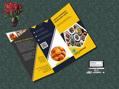 restaurant trifold brochure design. white trifold square slant restaurant red promotion print ready print offer