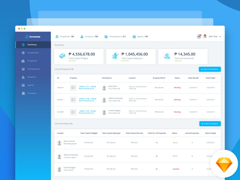 homewise dashboard by jake mapalo