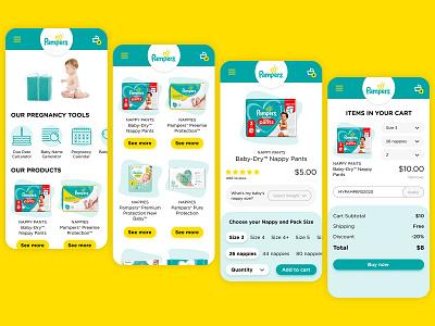 Pampers website UI UX Design Mobile Desktop web minimal home page home flat design figma desktop mobile ux ui ux ui website pampers