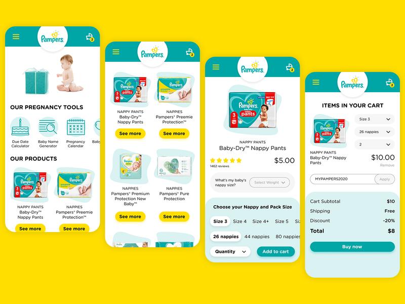 Pampers e-commerce website UI/UX Design Mobile/Desktop web minimal home page home flat design figma desktop mobile ux ui ux ui website pampers