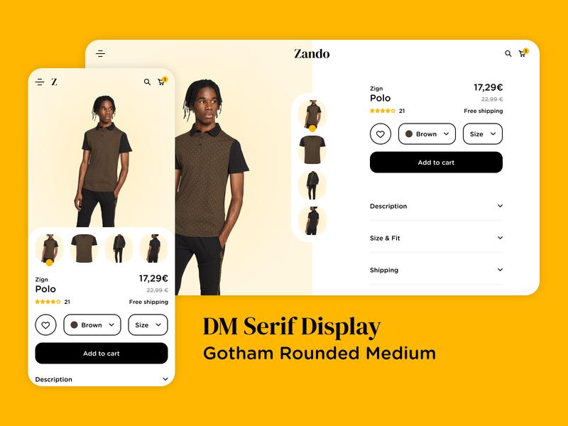 E-commerce clothes product page UI UX Design Mobile Desktop desktop web ux minimal home product figma clothes e-commerce flat ui design