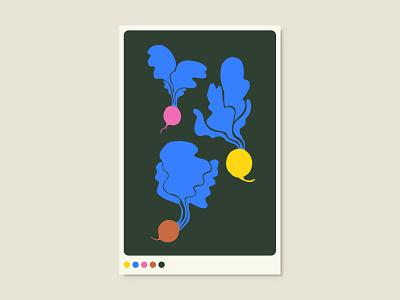 Beets vegetables illustration graphic design flat poster art poster design