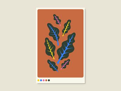 Chard vegetables illustration graphic design flat poster art poster design