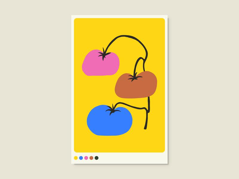 Tomatoes vegetables graphic design flat illustration poster art poster design
