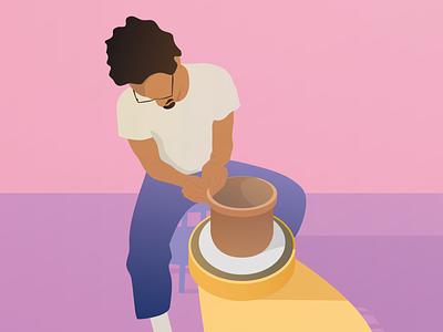 The Potter illustration art vector illustration vector pottery poster illustration graphic design design