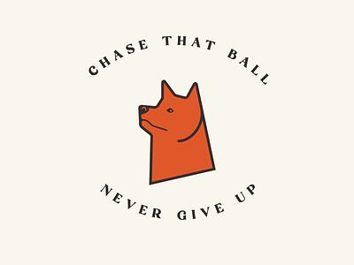 Chase That Ball dog shiba inu logo illustration badge graphic design flat design
