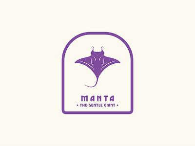 Manta - The Gentle Giant badge design sticker design logo illustration graphic design flat design