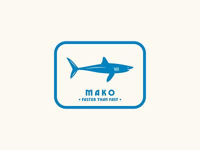 Mako - Faster Than Fast badge design sticker design illustration flat graphic design design