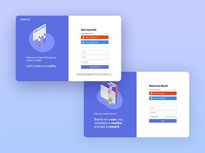 Habitual - Habit Tracker | Daily UI Challenge 001 (Sign up) ux log in sign up ui design dailyui