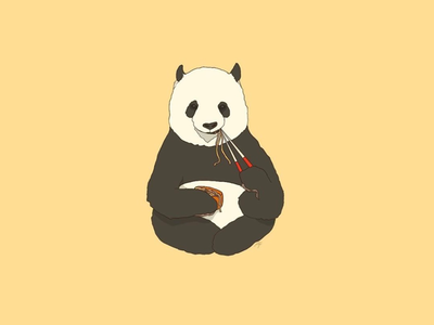 Panda noodles 🐼🍜 procreate digitalart yellow cute panda ramen
