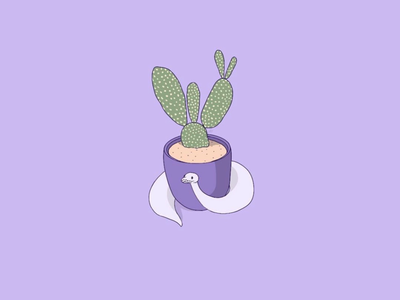 Opal with a cactus cute procreate digitalart cactus purple snake