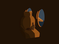 Traveling Rabbit brown cute procreate digitalart travel airplane rabbit