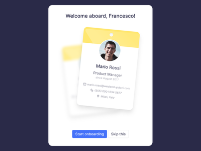 Welcome, employee vector badge rich illustration modal