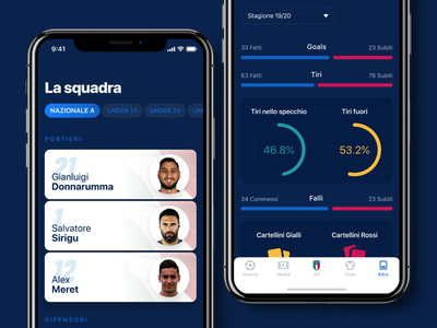 Azzurri Mobile App #2 neumorphic ios13 italiana nazionale soccer football app mobile ios