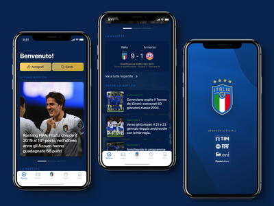 Azzurri Mobile App #1 neumorphic ios13 italiana nazionale soccer football app mobile ios
