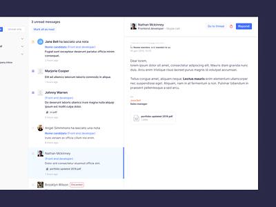 Opening inbox dashboard content columns email inbox app desktop