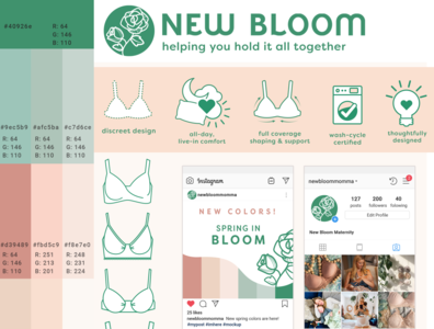 New Bloom Maternity Brand Development tagline copywriting content creation concept design brand identity marketing logo illustration branding design