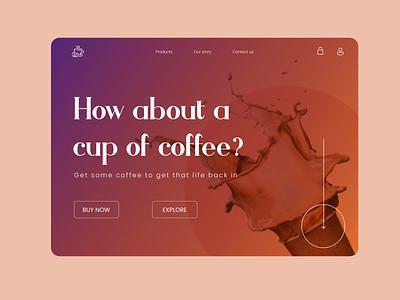 Online coffee shop website template modern clean gradient figma ui web design website cafe coffee