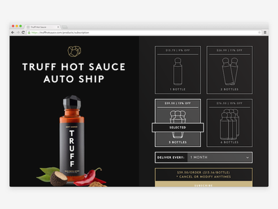 Subscription page ecommerce hot sauce subscription