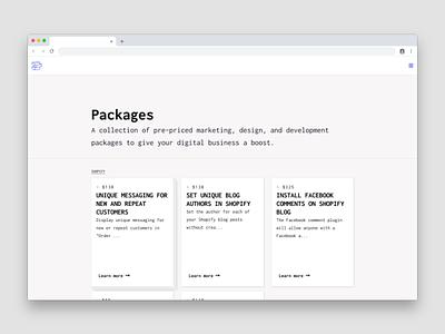 Packages web deisgn website portfolio ecommence