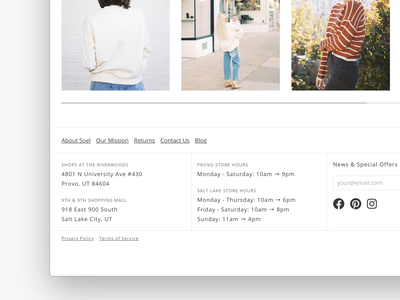 Soel Boutique Footer design web design ecommerce website branding
