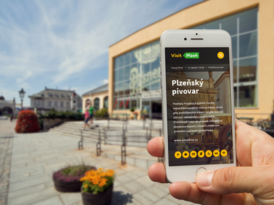 Visit Pilsen – mobile phone mobile application app design czech beer brewery city pilsen tourism app ux ui design website landing page webdesign web
