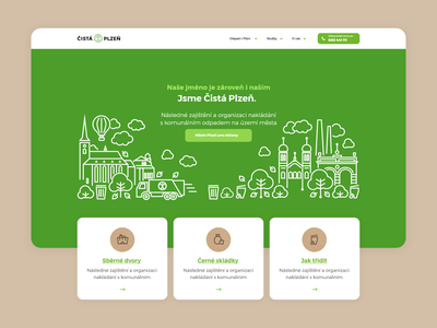 Čistá Plzeň paper plastic nature green ecological ecology waste sorting eco town city pilsen vector ui illustration design website webdesign web landing page
