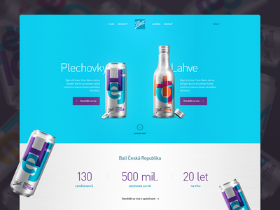 Ball package beverage metal technology bottle can ball ux ui branding design website landing page webdesign web