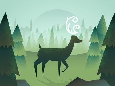 Mythic deer in woods