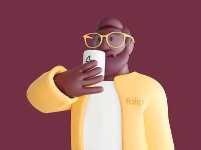3D Character Illustratıon/Folip branding illustration design illustration 3d illustration characters 3d