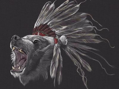 Running Bear bear illustration drawing feathers native american running bear head dress