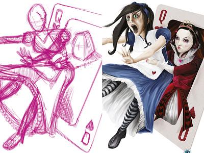 Queen Of Hearts alice progression process wonderland sketch drawing illustration queen of hearts