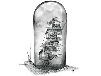 Snail - Evolving Home snail treehouse illustration drawing evolution tree