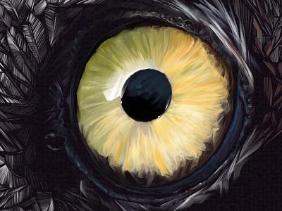 Owl Eye eye owl detail yellow reflection drawing illustration iris pupil digital art