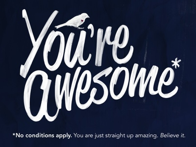 You're Awesome* typography lettering type bird conditions positive quote awesome handdrawn