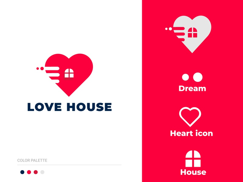 Love House construction building real estate love brand identity modern logo art minimal logo illustration flat design branding app