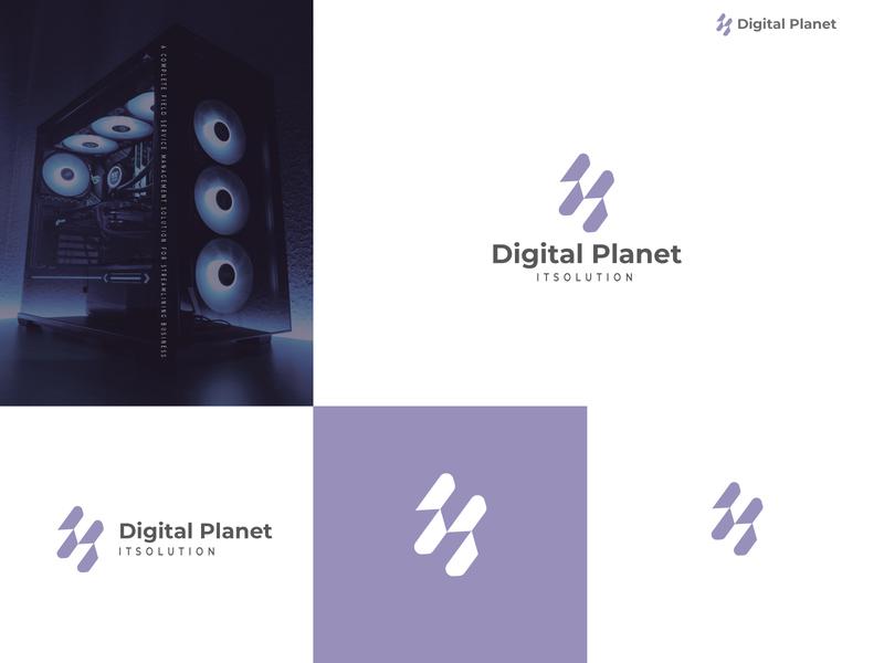 Modern and Minimalist (digital planet) lettering app flat modern logo brand identity logo minimal illustration design branding