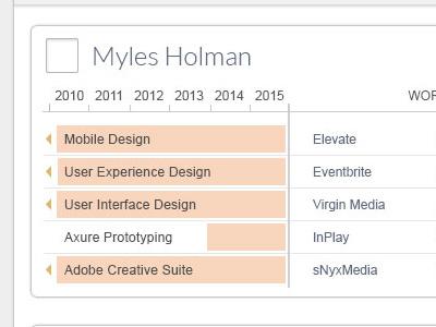 Data Visualization; Skills over Timeline cards timeline data visualization