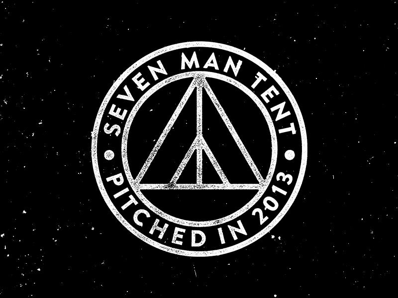 Seven Man Tent stamp manly camping tent custom type branding logo
