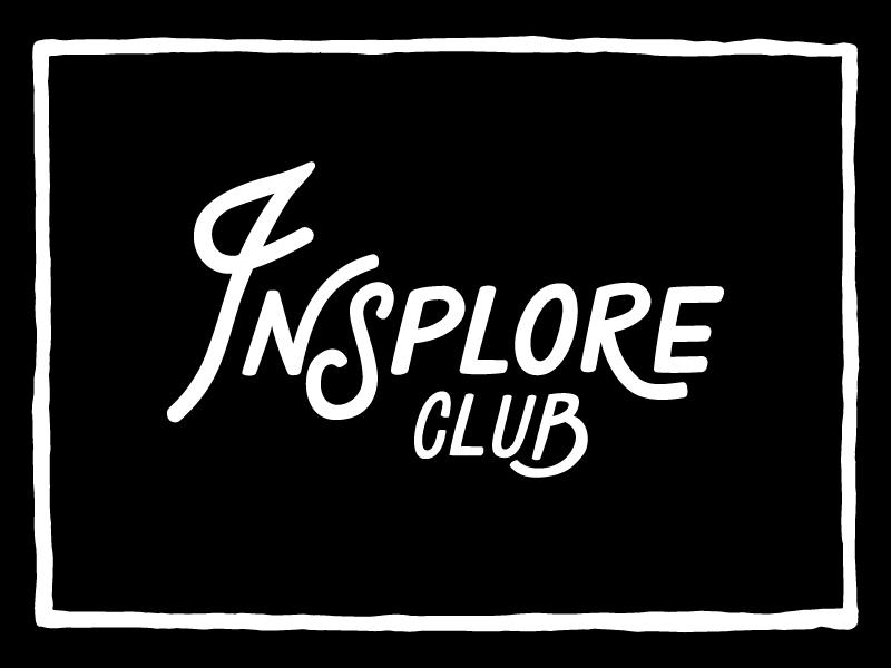 Insplore Club hand lettering typography identity branding logo