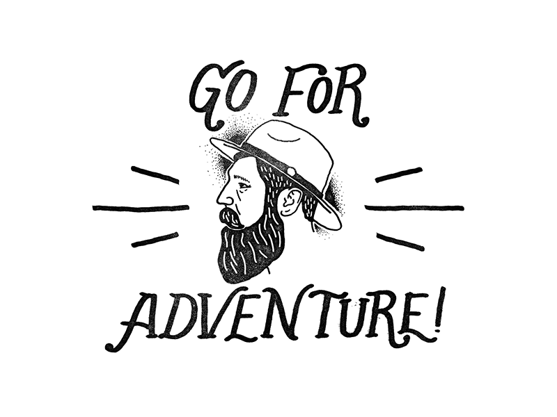 Go For Adventure fake vintage stamp hand lettering shirt beard supply adventure beard