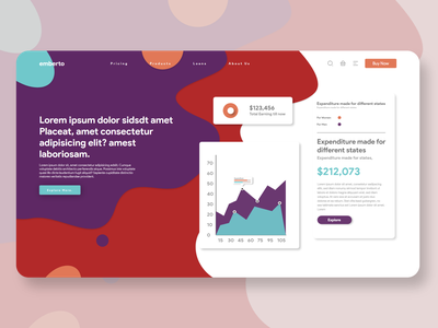 Emberto colorful color branding design business income chart bargraph classic future web uxui ux design ui  ux ui design uiux ui
